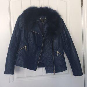 Blue Leather IMAN Jacket